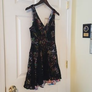 Black Lace Skater Dress with Multicolor Lining